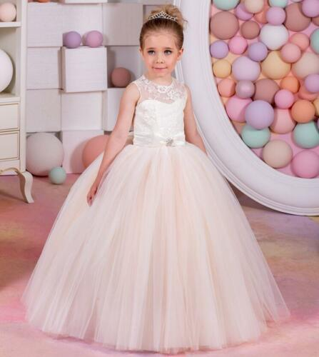 Flower Girl Dresses For Weddings Lace Bow Kids First Communion Gown