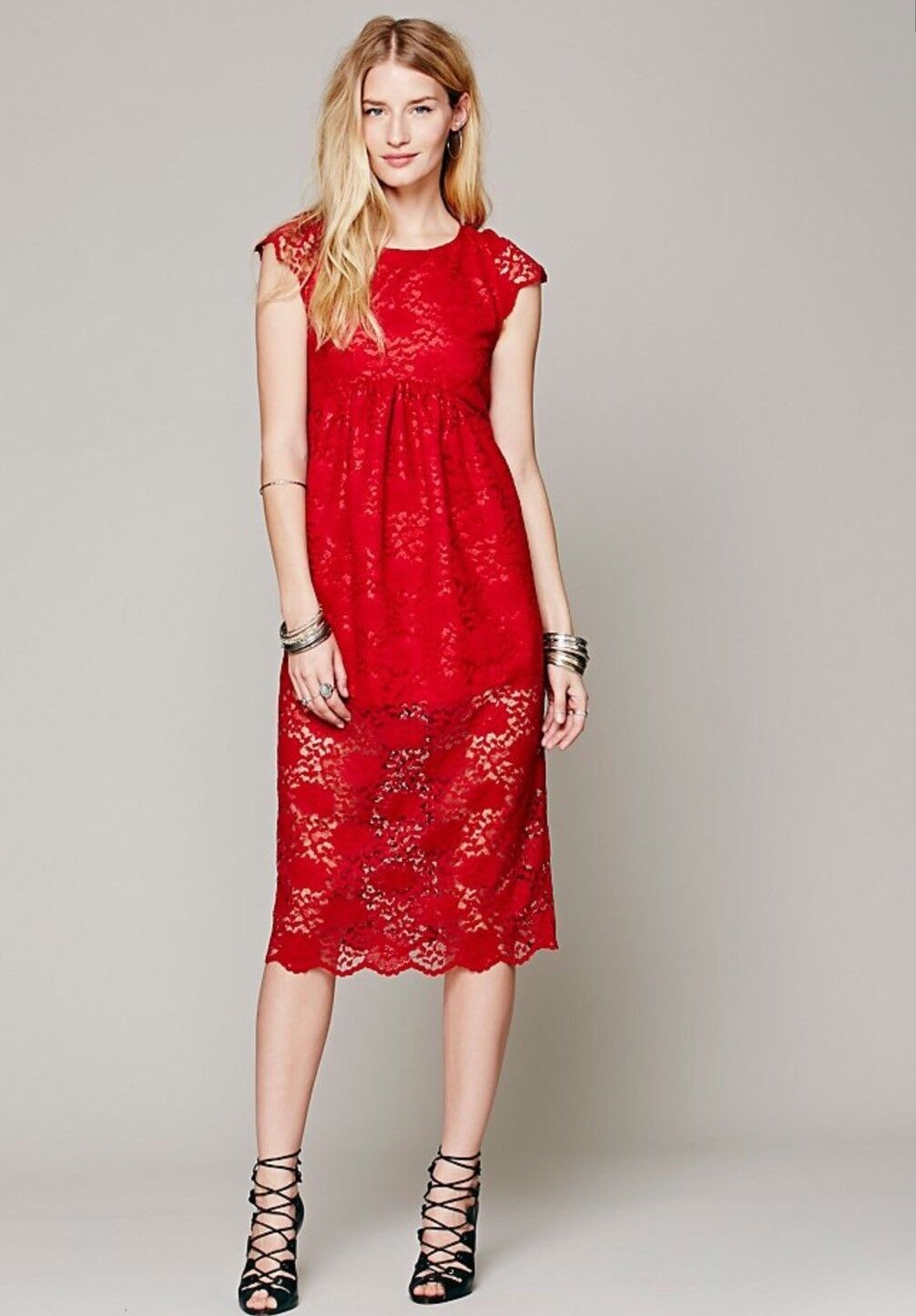 NEW Free People X Lindsey Thornburg Red Long Lace Babydoll Dress Size 4