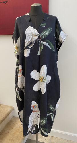 $158 NACH 100% Linen Blue Parrot Dress Size L/XL