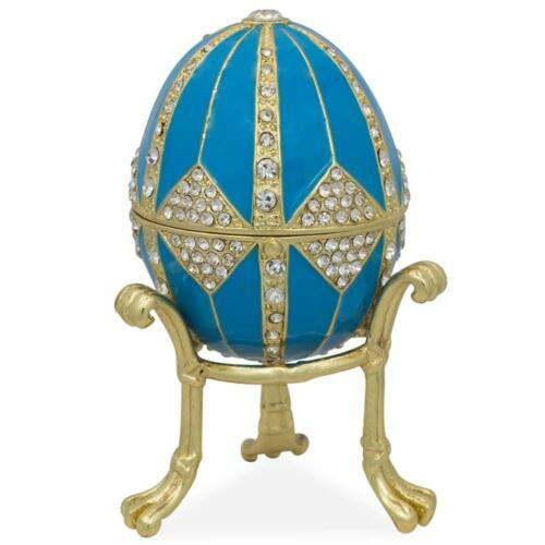 Details about  /Crystal Rhombus on Blue Enamel Royal Inspired Russian Egg 3.15 Inches