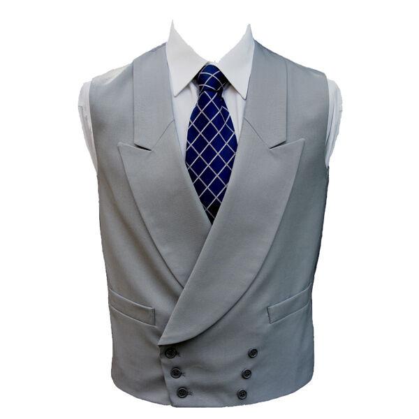 100% Wool Double Breasted Dove Grau Waistcoat 36