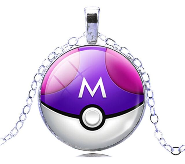 Pokemon Go Purple and Pink Glass White Gold GP Pokeball Necklace N123