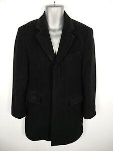 Homme-MARKS-amp-SPENCER-noir-boutonne-laine-amp-cachemire-melange-Pardessus-Taille-S-Small