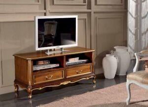 Porta Tv Foglia Oro.Mobile Basso Porta Tv In Legno Noce E Foglia Oro Soggiorno Salone