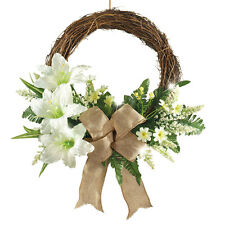 Pre-Lit LED Lighted Lily Wreath with Burlap Bow, White