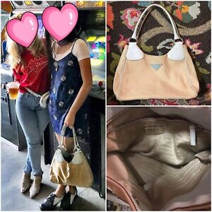 7c3c346882f2 PRADA Baby Blue Canvas Leather Classic Shoulder Every Day Versatile ...