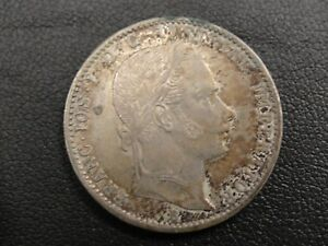 1859-B-Austria-1-4-Florin-Silver-Coin-High-Grade-With-Toning