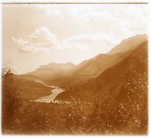 Fiume Montagne c1930 Foto Placca Da Lente Stereo Vintage VR16L17n15