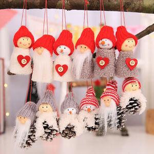Fj-Cw-3Pcs-Natale-Babbo-Pupazzo-di-Neve-Ornamento-Albero-da-Parete-Decorazione