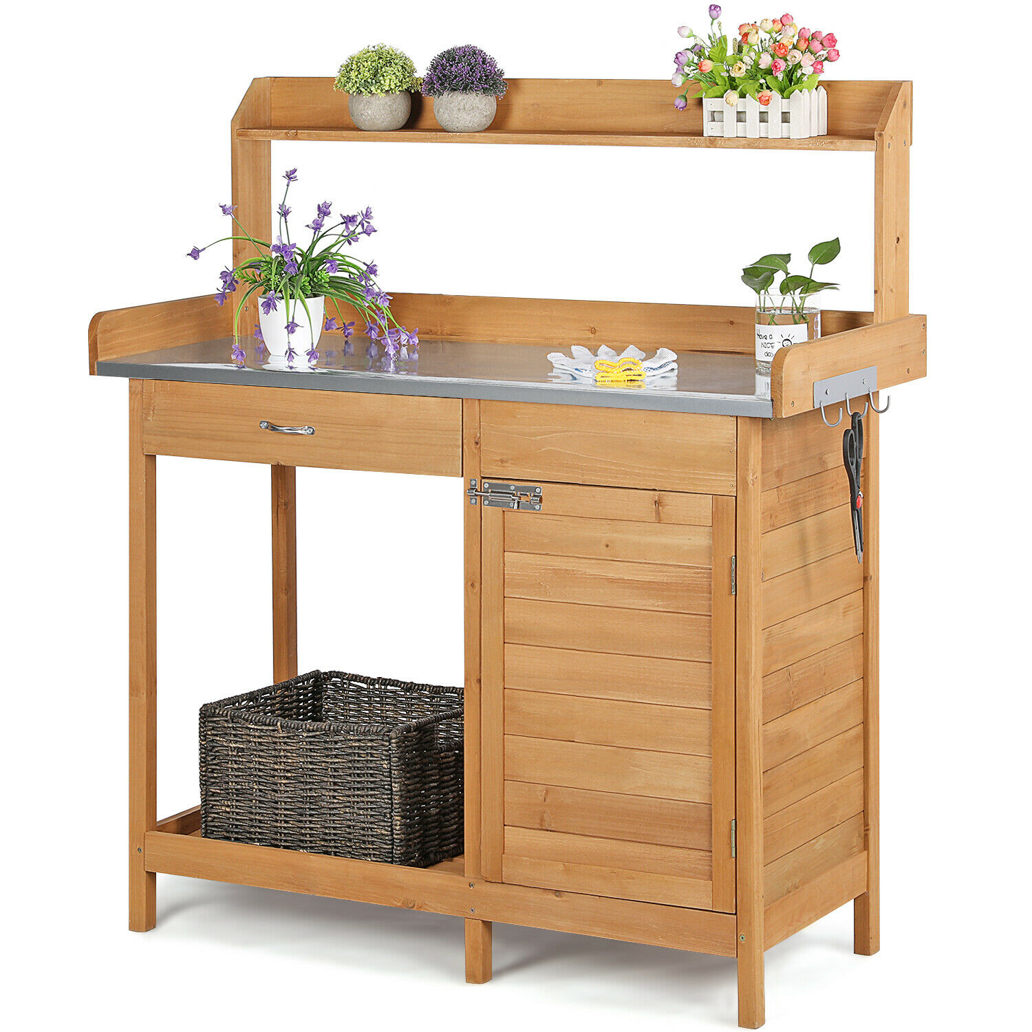 Outdoor Garden Potting Bench Table Planting Work Benches Cabinet Shelf  Outside