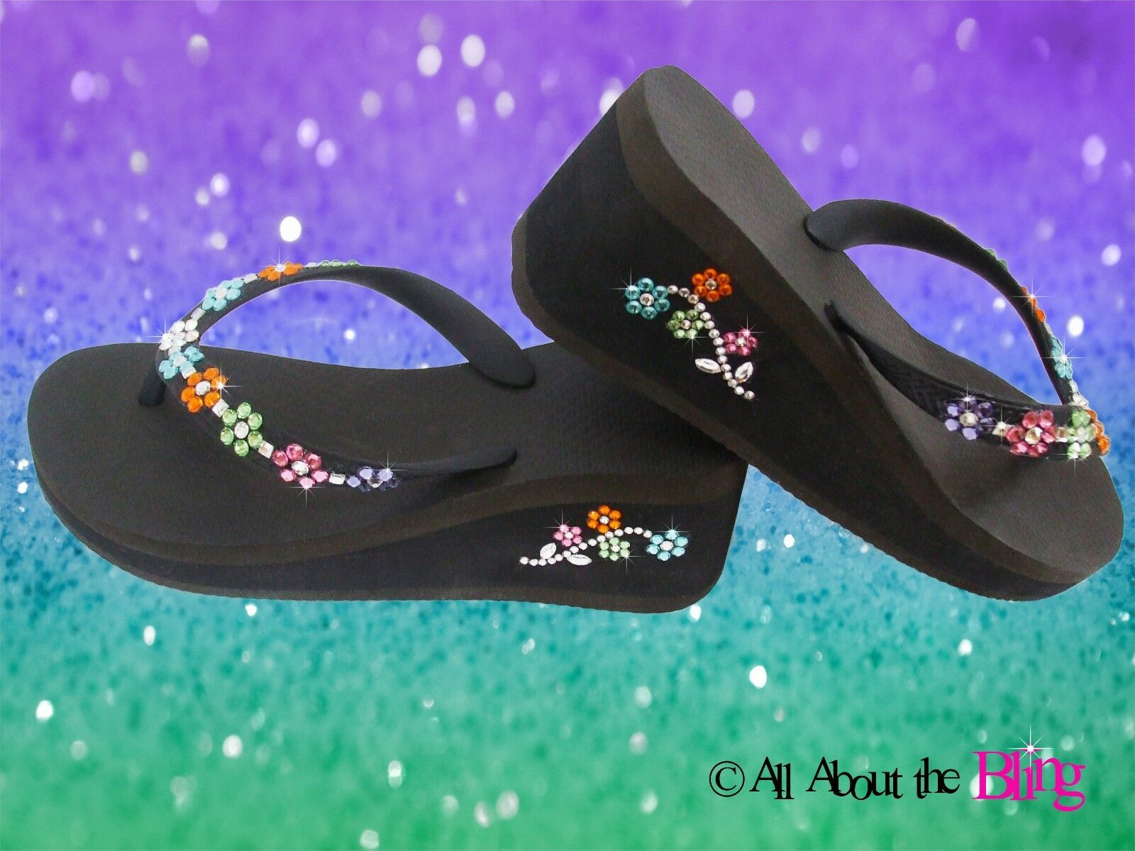 Flip Flops Wedge or Havaianas with SWAROVSKI crystals    baguettes wedding bride c53394
