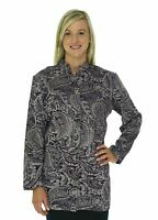 Coldwater Creek Long Fitted 3/4 Sleeve Jacket Plum Paisley Tapestry Blazer M