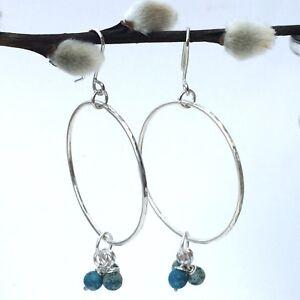 Sterling Silver Big Hoop Earrings With Turquoise Variscite Gemstones
