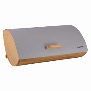 Details about Boîte à Pain Bambou avec Couvercle Inox Moderne Conteneur de  Stockage Gris