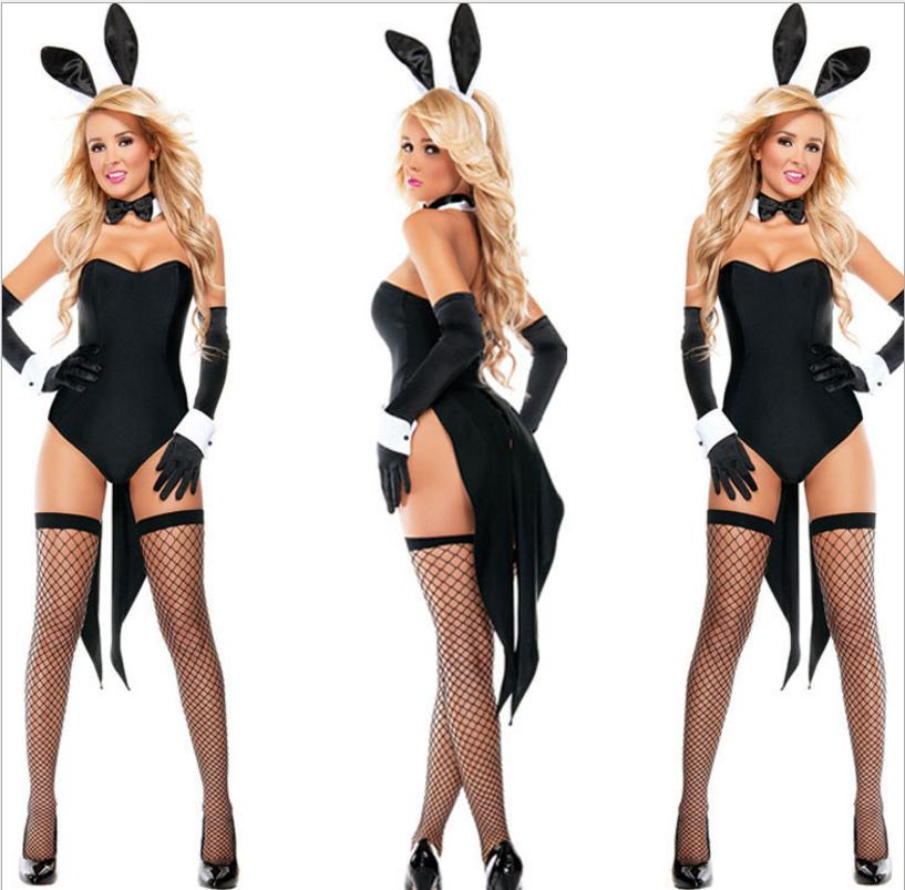 Women's Bunny Costume SEXY Rabbit with Bunny Ears Bodysuits Cosplay Clubwear NEW