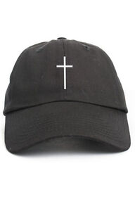 Cross-Custom-Unstructured-Dad-Hat-Cap-Christian-Religion-New-Black