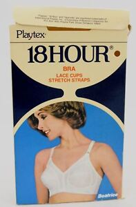 Vtg-60s-Playtex-18-Hour-BRA-White-Style-27-In-Box-NOS-Sizes-38D-amp-40D