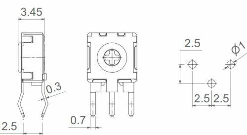 5 pezzi Trimmer potenziometro 2M2 2,2 MOhm ACP CA6PH2,5 Serie 6mm