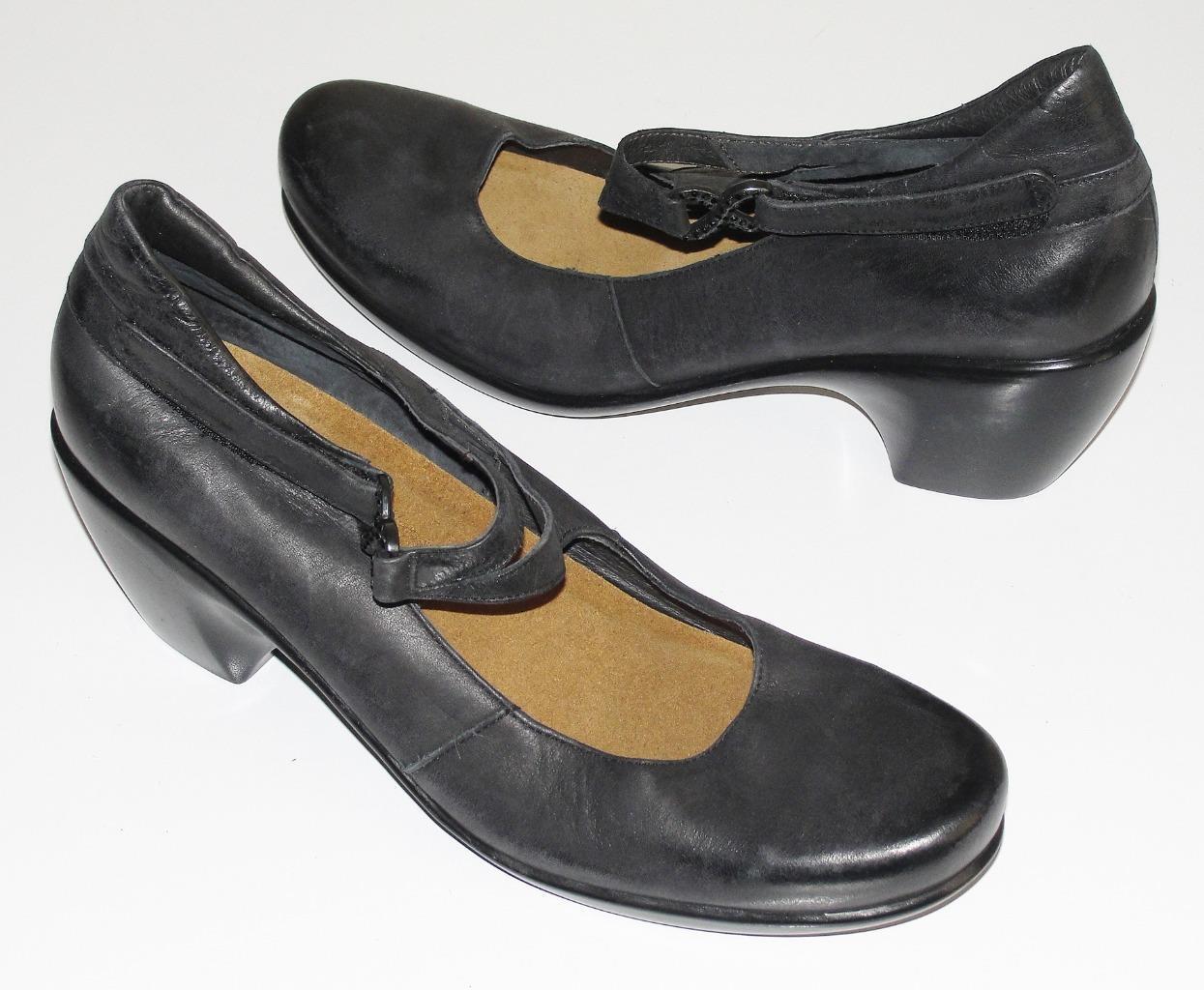 NAOTBLACKLEATHER RHINESTONE BUCKLE COMFORTMARY JANE PUMPS Schuhe HEELS41