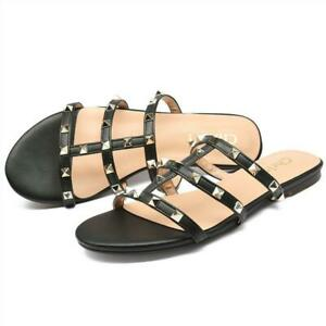 Women-Flats-Rivets-Slides-Strappy-Studded-Gladiator-Sandals-Slippers-Open-Toe