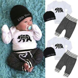 Nouveau-Né Bébé Garçon Fille Ange Tops pantalon chapeau 3Pcs Tenues Ensemble Vêtements