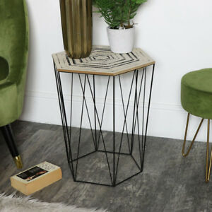 Geometric Hexagon Wire Metal Occasional Table Boho Scandi Living