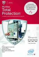 Mcafee Total Protection 2015 3pcs - Retail Box, Free Update To 2017 Version