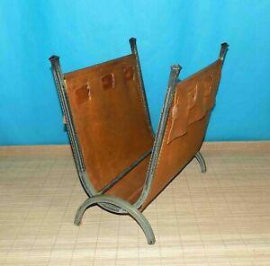 ancien-porte-revue-magazine-de-1950-en-cuir-et-metal-lourd-poid-5-5-kg