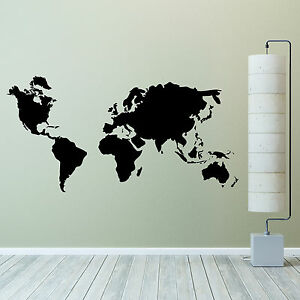 World map wall sticker vinyl wall art decal ebay image is loading world map wall sticker vinyl wall art decal gumiabroncs Images