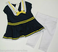 Maggie & Zoe Naval Dress And White Jeggings Nautical 2 Pc Adorable Set 3-6 M