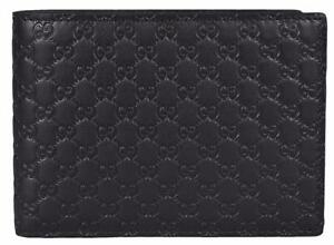 a0bd979d549 NEW Gucci Men s 278596 Black Micro GG Guccissima Large Bifold Wallet ...