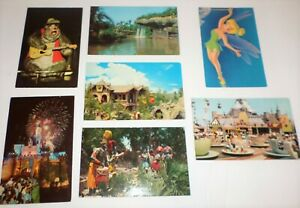 Disneyland 60s 70s X7 Postcards Critter Country Tea Cups Sky Ride Boat Ride