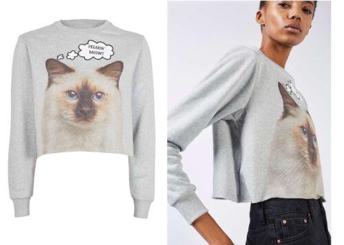 Topshop Tee /& Cake Freakin Meowt Cat Kitten print Crop Sweat Top Hoodie Sweater