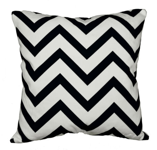 le01a Black Off White Zig Zag Cotton Canvas Cushion Cover//Pillow Case Custom Siz