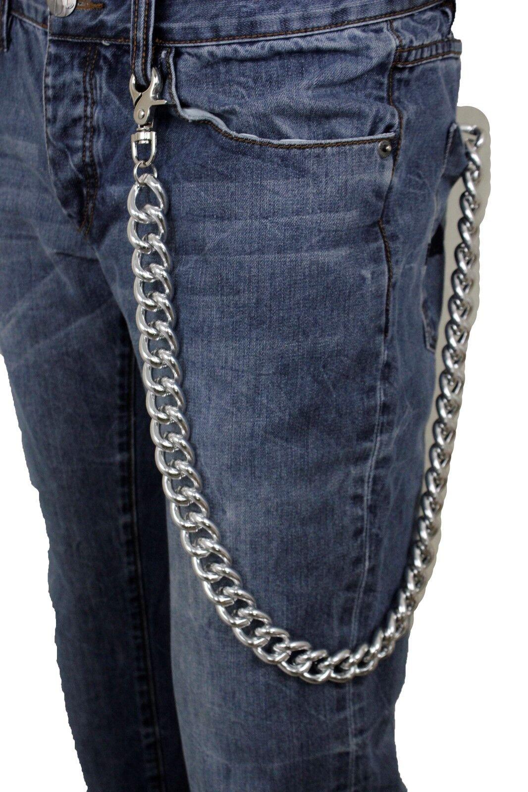 Herren Portemonnaie Kette Silber Grob Metall Dick Links Lang Bling Jeans Schicke
