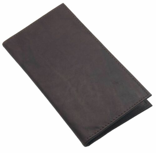 Black Cowhide Leather Checkbook Cover Long Organizer Wallet Men Women