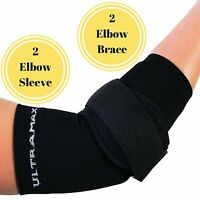 Elbow Sleeve And Brace (extra Large, Black) 2 Elbow Sleeves 2 Elbow Braces