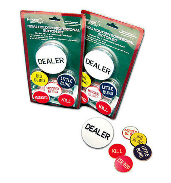 COPAG DEALER BUTTON BLACK WHITE SET BIG LITTLE BLIND POKER PLAYING CARDS CASINO