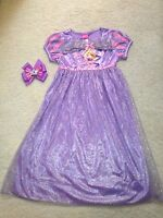 Ready-made Purple Rapunzel Girls Nightgown/play-dress (size 6) Hair Bow