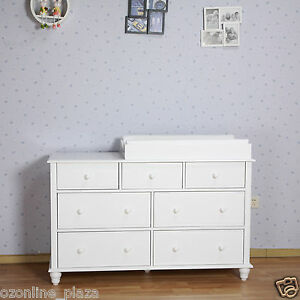 White Nz Pine 7 Drawers Change Table Dresser Chest Of Draw