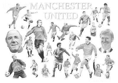 Manchester United Legends Art Drawing Print Retro Present For Man Utd Fan Signed Ebay