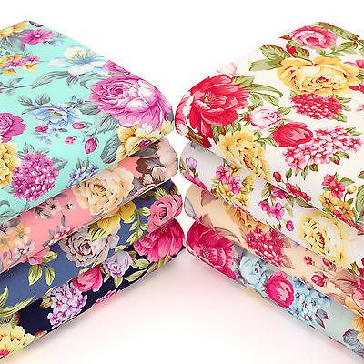 Cotton Poplin Fabric FQ Flower Bouquet Shabby Vintage Retro Chic FabricTime VK98