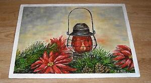 VINTAGE CHRISTMAS RED POINSETTIA GARDEN FLOWER PINE CONES KEROSENE LAMP PAINTING