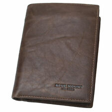 Bifold Leather Wallets For Mens Credit Card Man Purse With Removable ID Holder