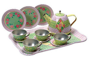 Children-039-s-15-piece-Tin-Tea-Set-amp-Tray-Great-for-ages-3-and-up-New-in-box-CTTS