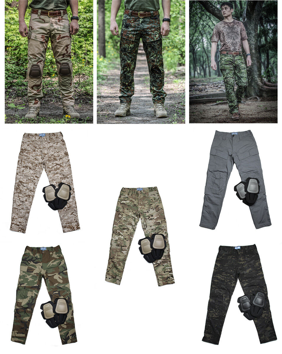 Men E-ONE Military Airsoft Combat Tactical Pants Camp Hunting Trousers+Knee Pads
