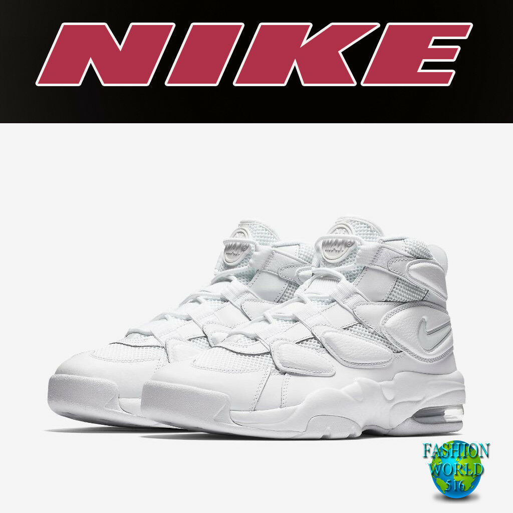 2c41ab98864038 Nike Men s Size 9.5 Air Max2 Uptempo 94 Triple White Basketball Shoe ...