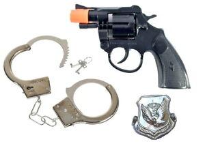 Super Cap POLICE Lock'em Up 8 Shot Ring Caps Revoler+Badge & METAL HANDCUFFS