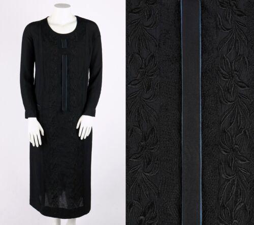 Vtg OOAK 1920's Black Georgette Floral Embroidered