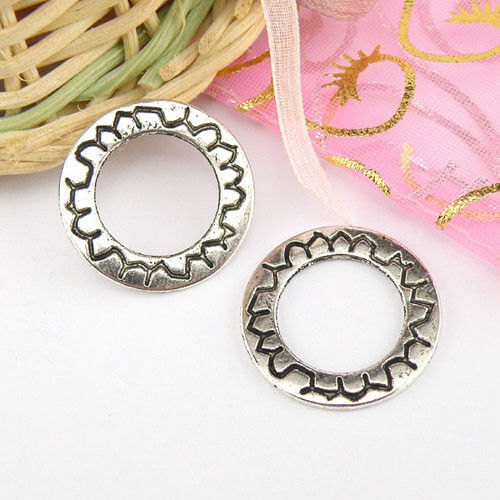 6Pcs Tibetan Silver Circle Charms Pendants Double-sided 21mm A4404